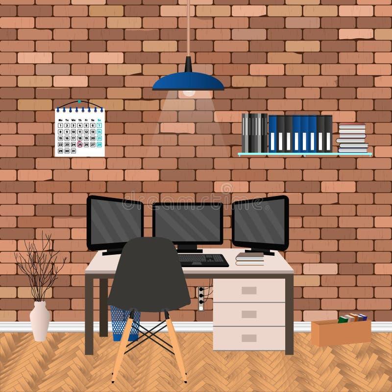 Modern werkruimteontwerp in hipsterstijl met drie monitorslaptop Het binnenland van de huiswerkplaats in woonkamer vector illustratie