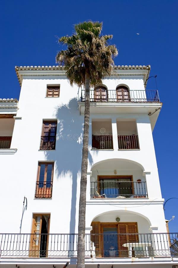 Modern white architecture of apartment block stock image