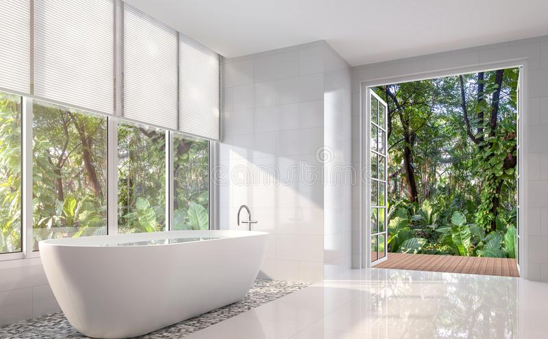 Modern white bath room with open door to nature 3d render. Modern white bath room 3d render. There are white tile wall and floor.The room has large open door stock illustration