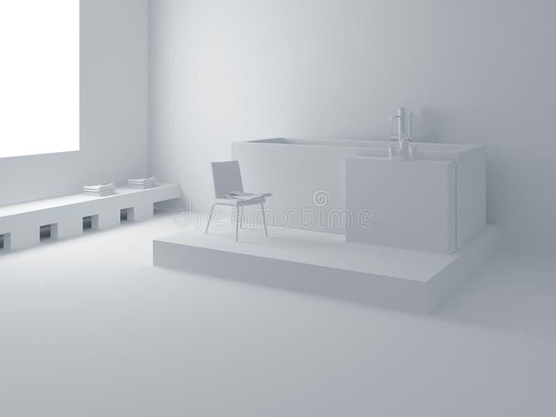 Modern white bathroom vector illustration