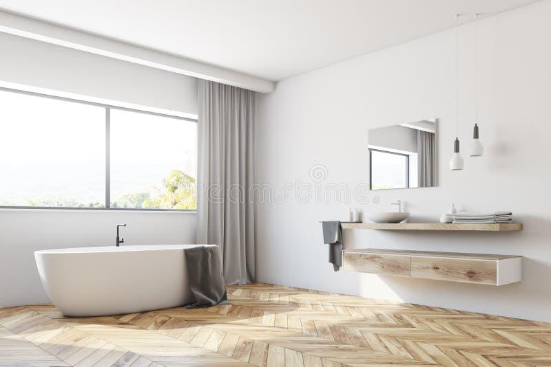 Modern white bathroom corner stock illustration