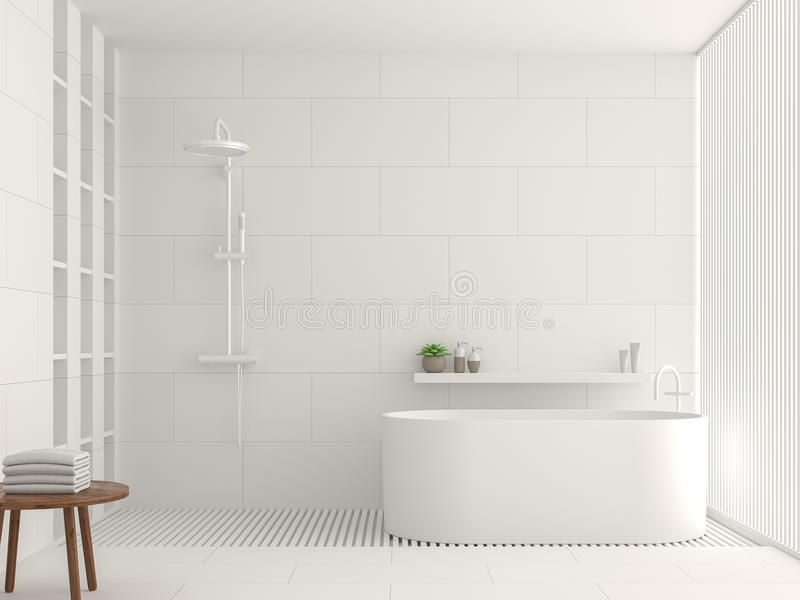 Modern white bathroom interior 3d rendering image. There are white tile white brick pattern on walls and floor. Decorated with white laths vector illustration