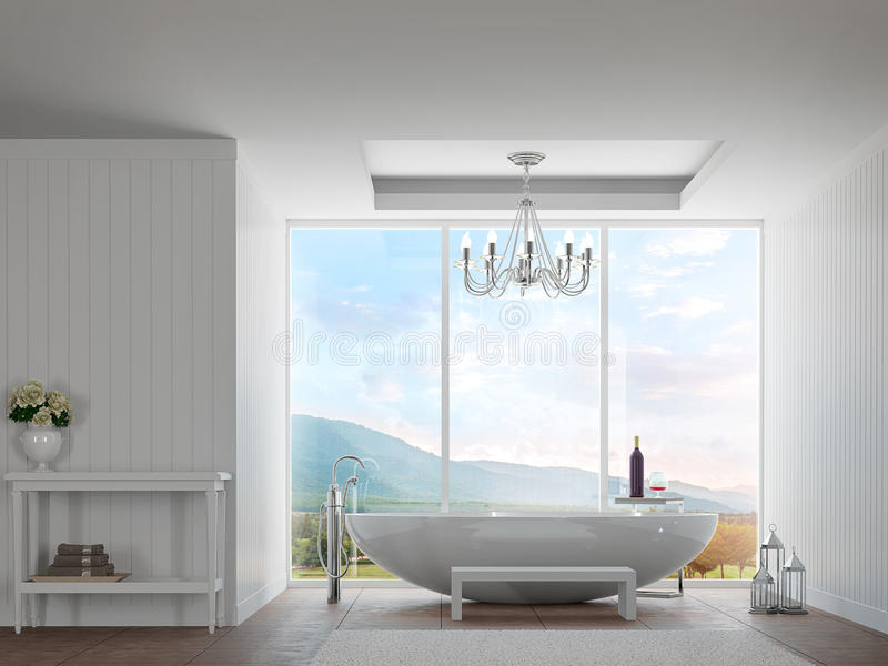 Modern white bathroom with mountain view 3d rendering image stock illustration