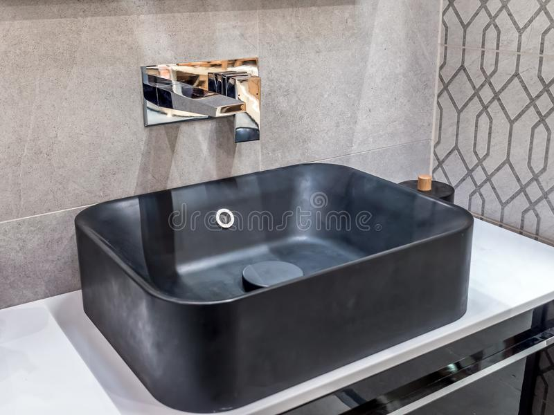 Modern bathroom washbasin stock photos