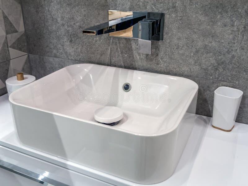 Modern bathroom washbasin royalty free stock photography