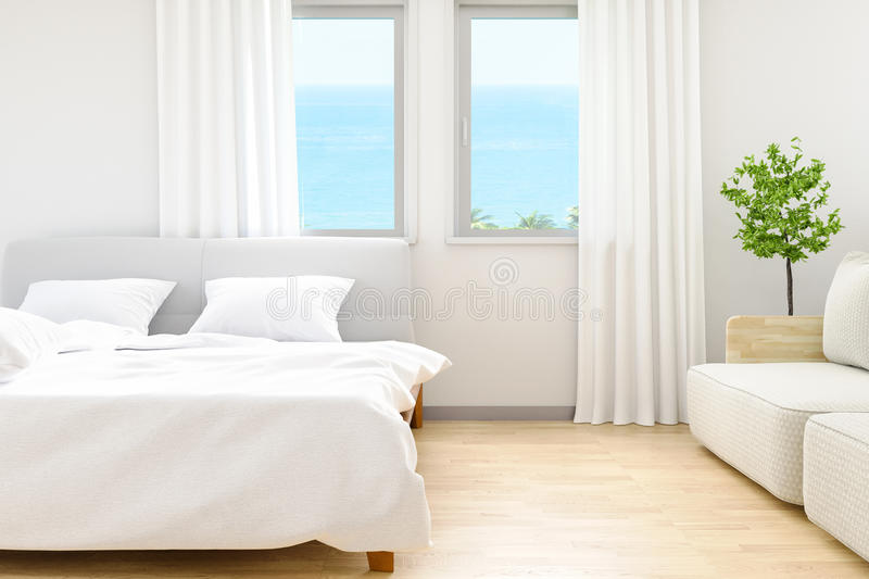 The modern of white bedroom bed sheets and pillows ,comfort and bedding concept and sea beach background at windows, 3D. The modern of white bedroom bed sheets vector illustration