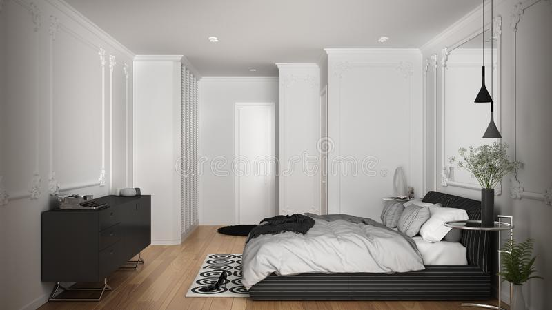 Modern white bedroom in classic room with wall moldings, parquet floor, double bed with duvet and pillows, minimalist bedside. Tables, mirror and decors royalty free illustration