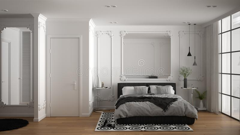 Modern white bedroom in classic room with wall moldings, parquet floor, double bed with duvet and pillows, minimalist bedside. Tables, mirror and decors vector illustration