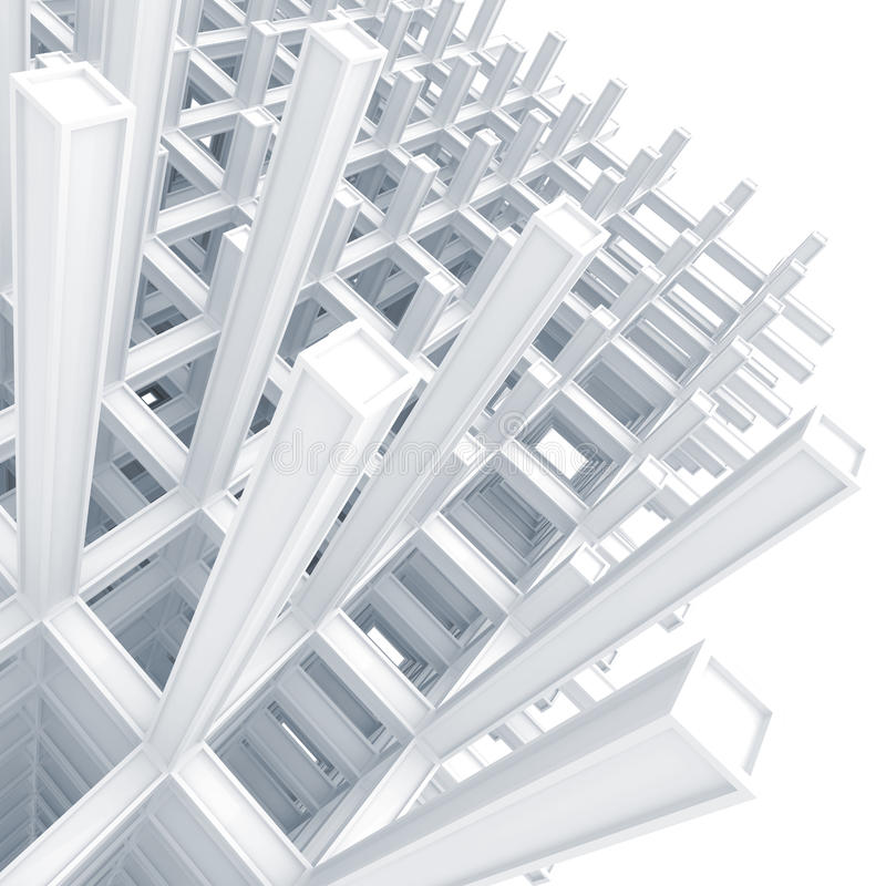 Modern White Braced Construction Above White Royalty Free Stock Photo