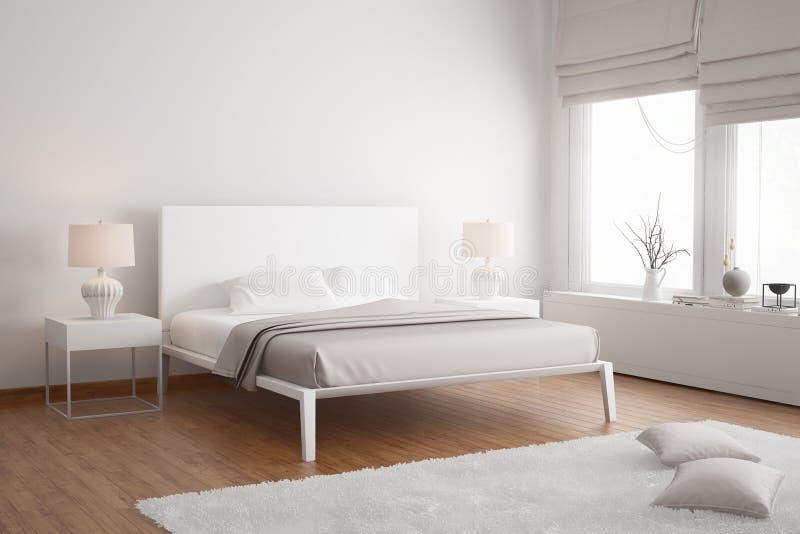 Modern white contemporary bedroom vector illustration