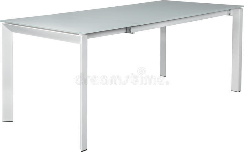 Modern white dinning table. Modern designer, Sliding table isolated on white background. Series of furniture. stock photos