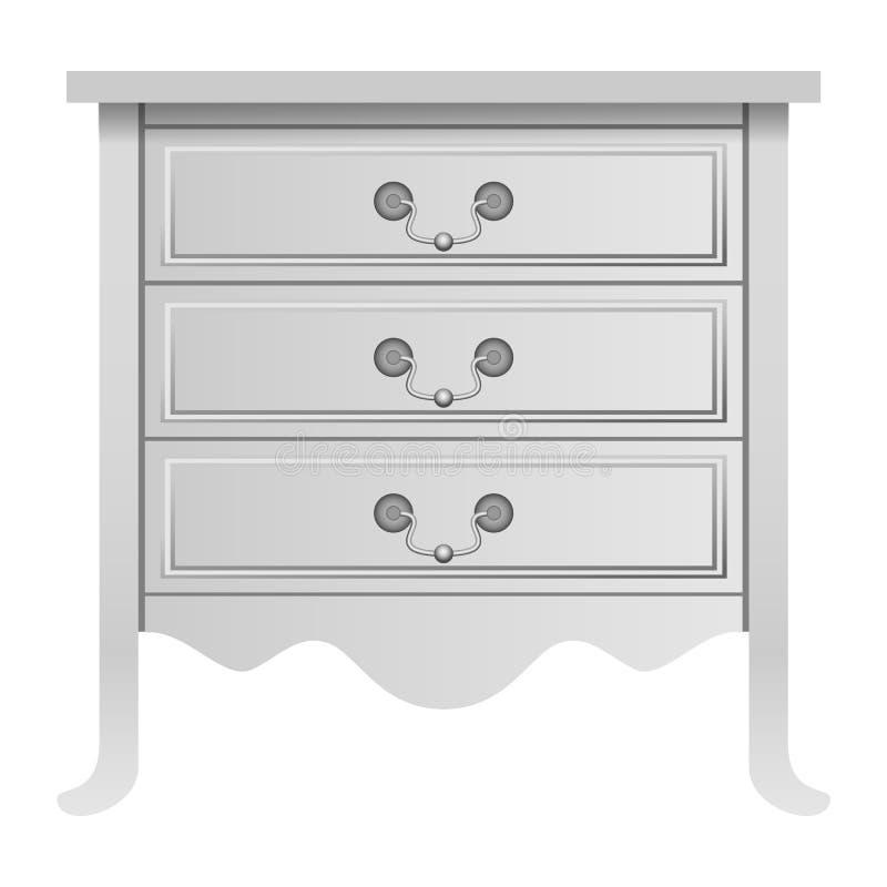 Modern white drawer mockup, realistic style. Modern white drawer mockup. Realistic illustration of modern white drawer mockup for web design isolated on white stock illustration