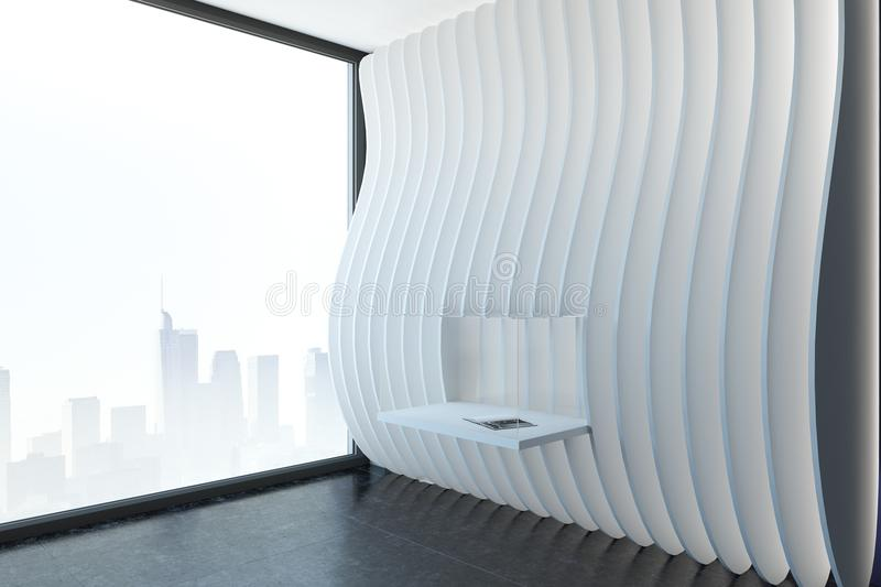 Modern white exposition room. With installation and city view. Museum and gallery concept. 3D Rendering stock illustration