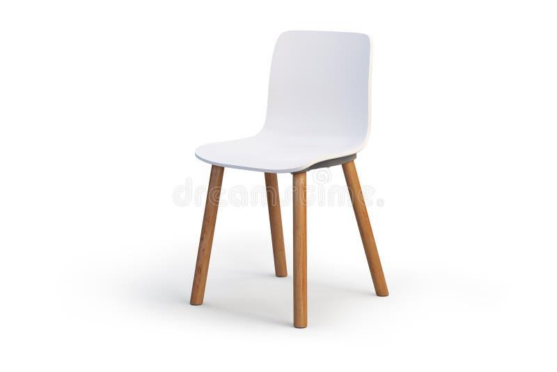 modern white för stol Trägrund 3d framför royaltyfri illustrationer