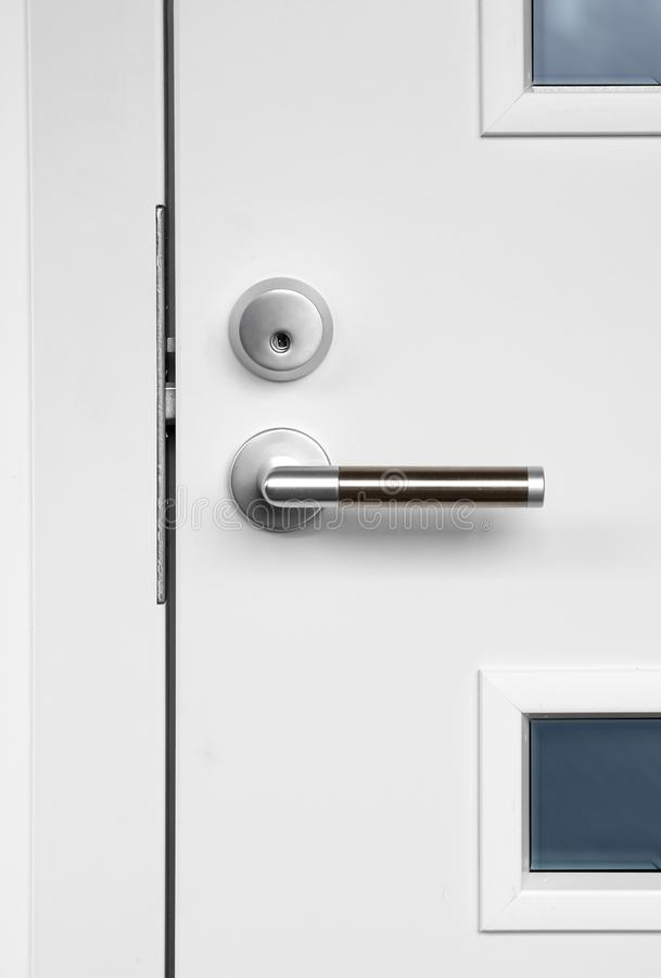 Download Modern White Front Door Handle And Lock Stock Image   Image Of  Nobody, Window