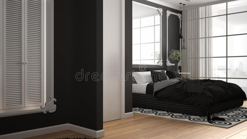 Modern white and gray bedroom in classic room with wall moldings, parquet, double bed with duvet and pillows, minimalist bedside. Tables, mirror and decors vector illustration