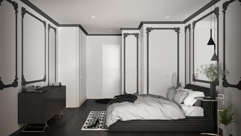 Modern white and gray bedroom in classic room with wall moldings, parquet, double bed with duvet and pillows, minimalist bedside. Tables, mirror and decors royalty free illustration