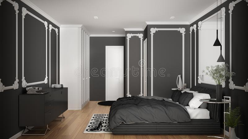 Modern white and gray bedroom in classic room with wall moldings, parquet, double bed with duvet and pillows, minimalist bedside. Tables, mirror and decors stock illustration