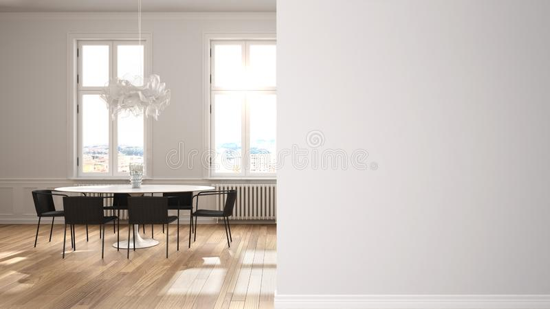 Modern white and gray living room with dining table on a foreground wall, interior design architecture idea, concept with copy. Space, blank background vector illustration