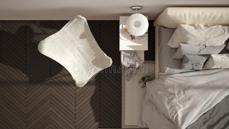 Modern white and gray minimalist bedroom, bed with pillows and blankets, herringbone parquet floor, bedside tables, armchair and. Carpet. Architecture, interior stock illustration