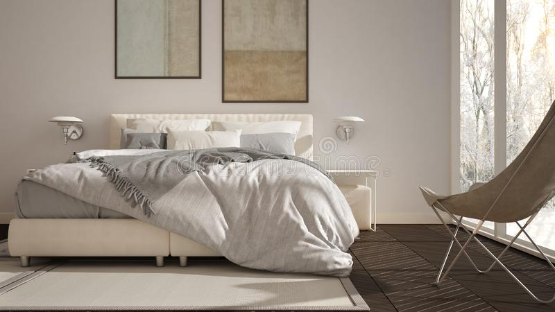 Modern white and gray minimalist bedroom, bed with pillows and blankets, parquet, bedside tables and carpet. Panoramic window with. Winter panorama with trees royalty free illustration