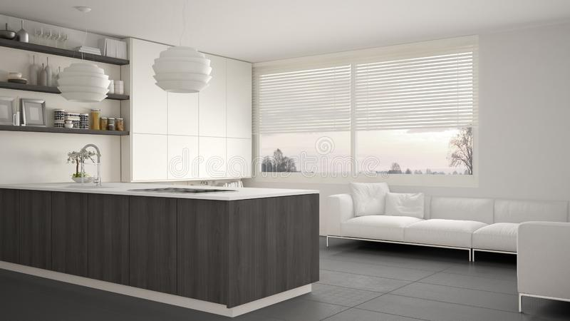 Modern white, gray and wooden kitchen with shelves and cabinets, sofa and panoramic window. Contemporary living room, minimalist a royalty free illustration