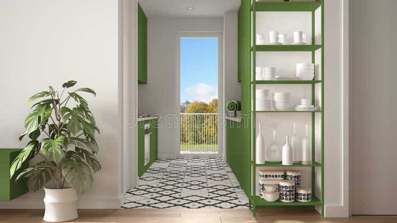 Modern white and green minimalist living room with small kitchen, parquet floor, potted plant, shelving sistem with decors,. Colored tiles, architecture royalty free stock photography