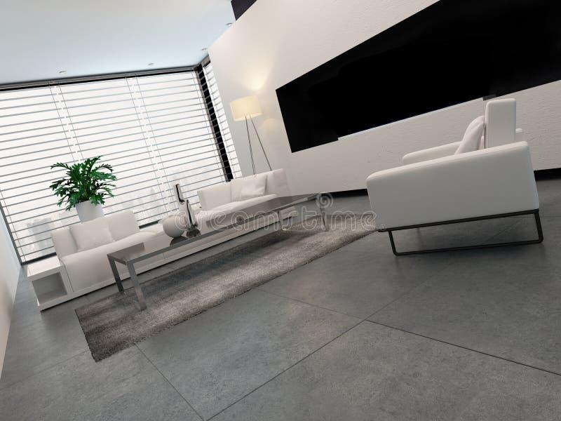 Download Modern White, Grey And Black Living Room Interior Stock  Illustration   Illustration Of Building