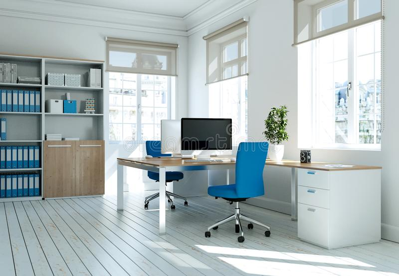 Modern white home office interior design 3d Rendering royalty free stock image