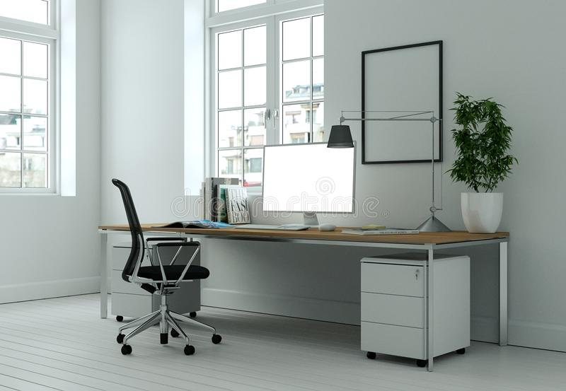 Modern white home office interior design 3d Rendering stock image