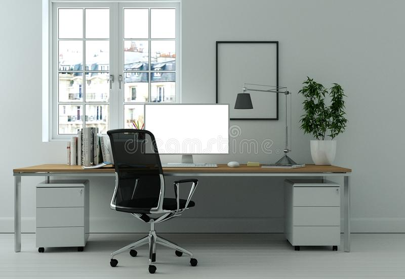 Modern white home office interior design 3d Rendering stock photos