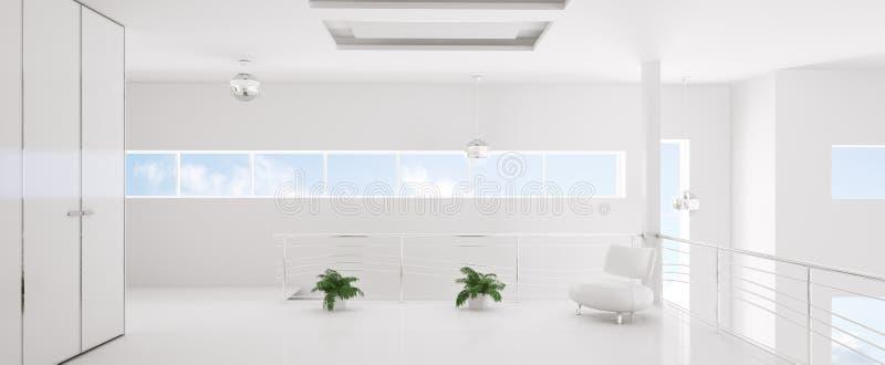 Modern white interior panorama 3d render royalty free illustration