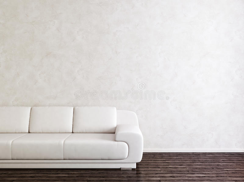 Modern White Interior Room. Interior Room with White Wall and Modem Sofa vector illustration