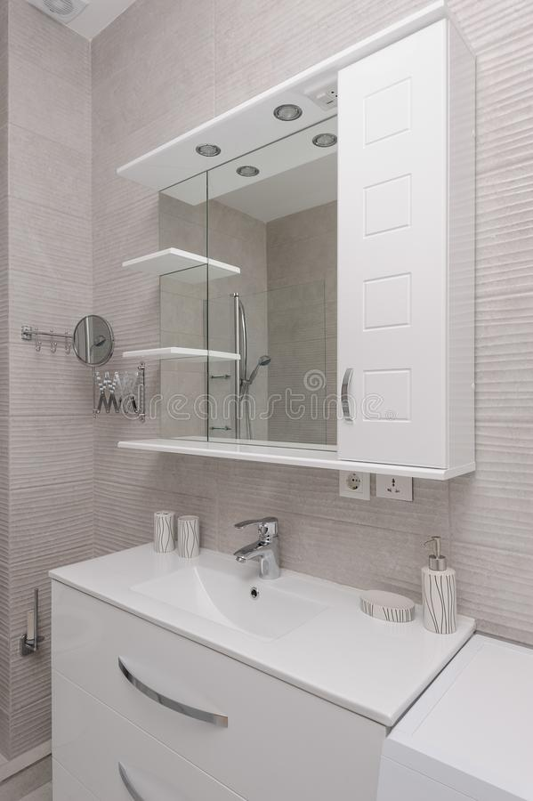 Modern white and kight beige bathroom. Interior royalty free stock photo