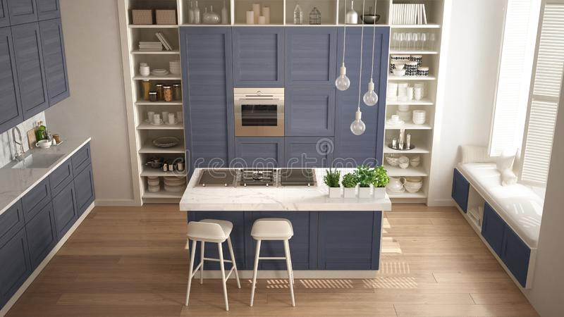 Modern white kitchen with blue wooden details in contemporary luxury apartment with parquet floor, vintage retro interior design, stock photography