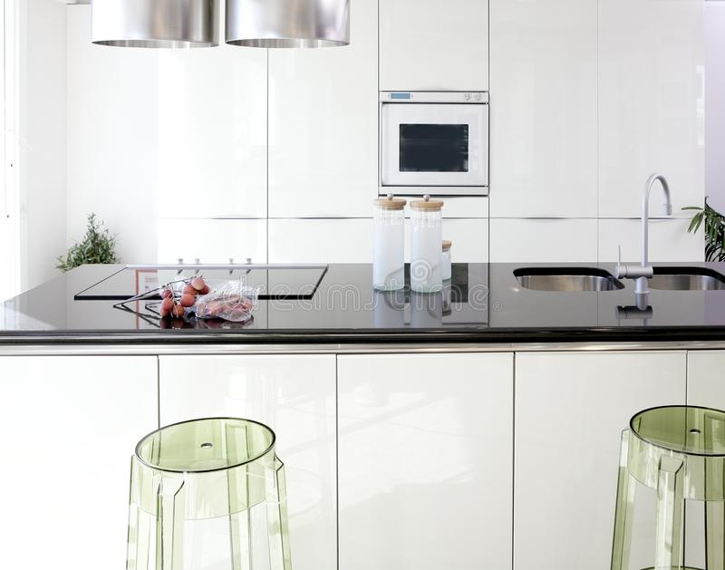 Download Modern White Kitchen Clean Interior Design Royalty Free Stock Images
