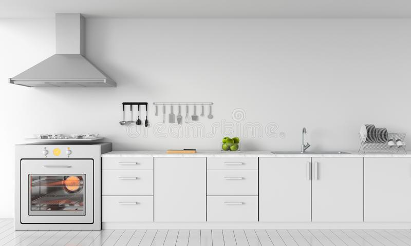 Modern white kitchen countertop with gas stove for mockup, 3D rendering royalty free illustration