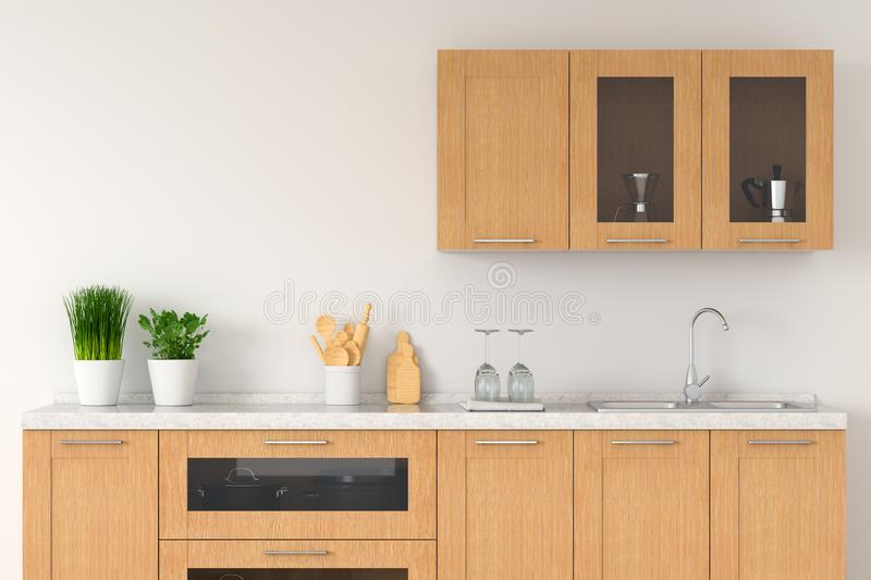 Modern white kitchen countertop with sink, 3D rendering stock illustration