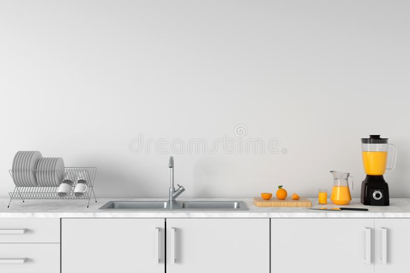 Modern white kitchen countertop with sink, 3D rendering stock photo