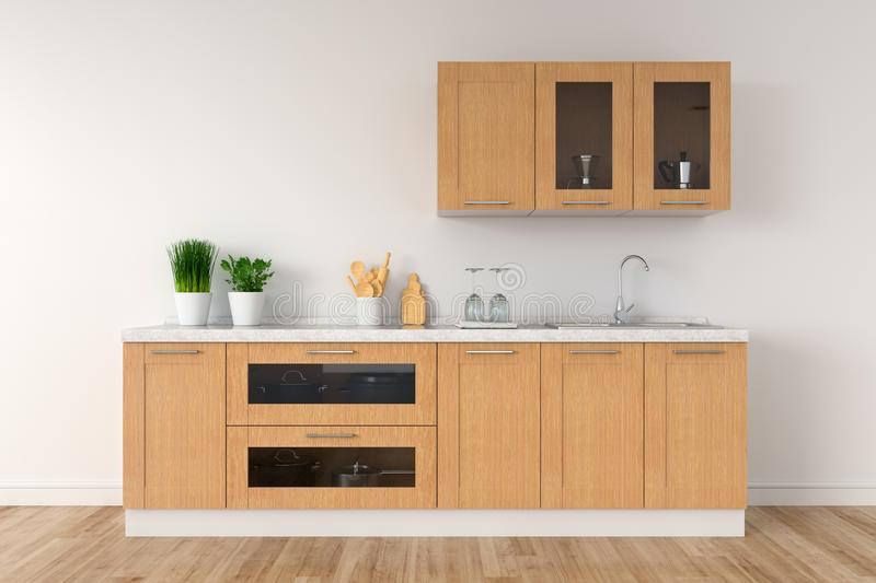 Modern white kitchen countertop with sink for mock up, 3D rendering stock illustration