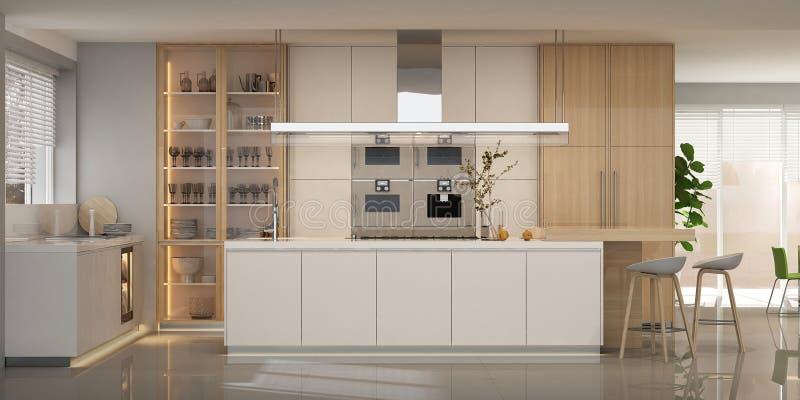 Modern white kitchen interior in scandinavian style royalty free stock image