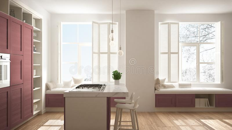 Modern white kitchen with red wooden details in contemporary luxury apartment with parquet floor, vintage retro interior design, royalty free stock photography