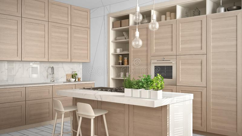 Modern white kitchen with wooden details in contemporary luxury apartment, interior design concept idea, black ink sketch in the royalty free stock image