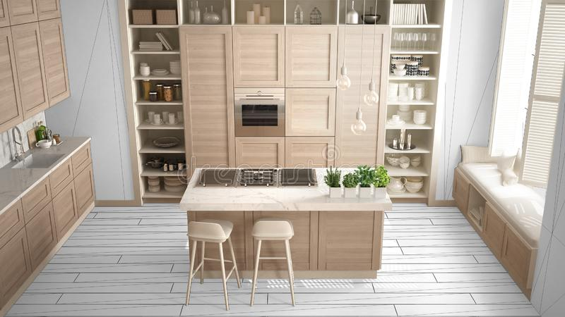 Modern white kitchen with wooden details in contemporary luxury apartment, interior design concept idea, black ink sketch in the. Background, minimalist stock photos