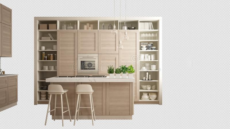 Modern white kitchen with wooden details in contemporary luxury apartment, interior design concept idea, isolated on white. Background with copy space vector illustration