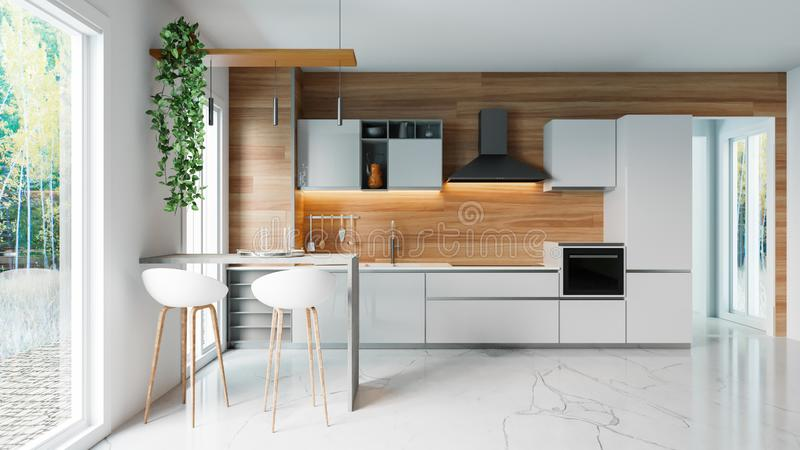 Modern white kitchen with wooden wall and marble floor, minimalistic interior design concept idea, 3D illustration. Illustration of a modern kitchen in a house vector illustration