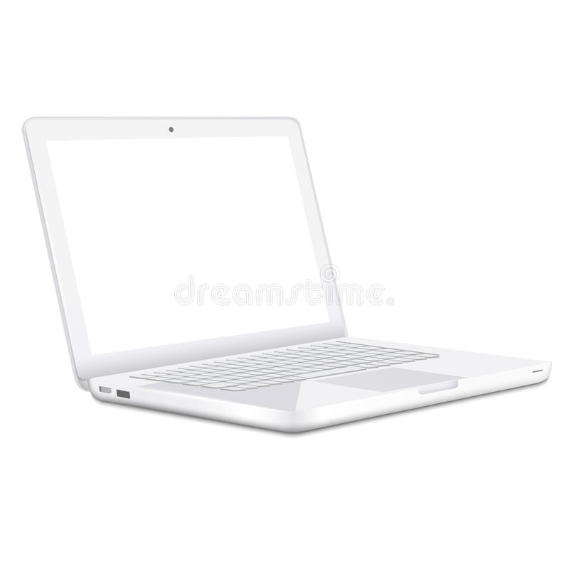 Download Modern White Laptop  On White Background Stock Vector - Illustration of network, design: 28677238