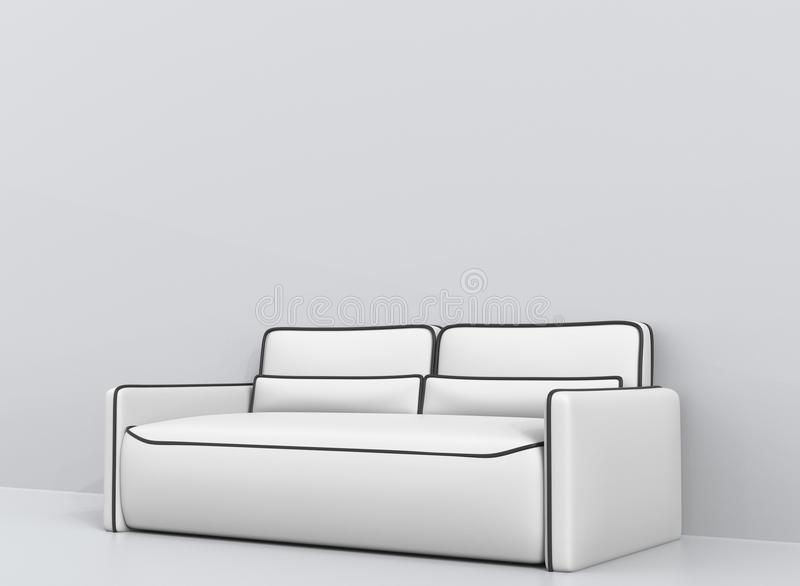 Modern white leather sofa with black outlines - angle shot royalty free illustration
