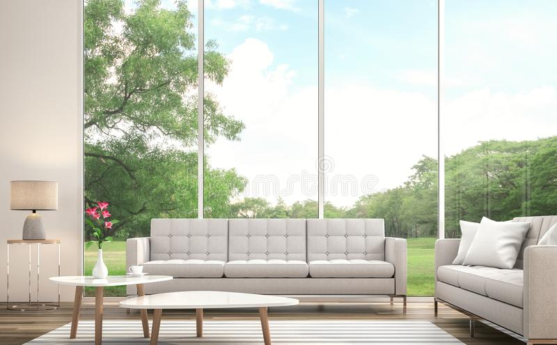 Modern white living room 3d render.There are large window. Overlooks to large garden. vector illustration