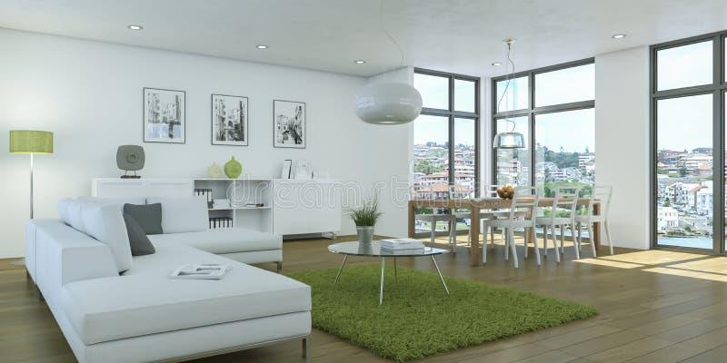 Modern white living room interior design stock illustration